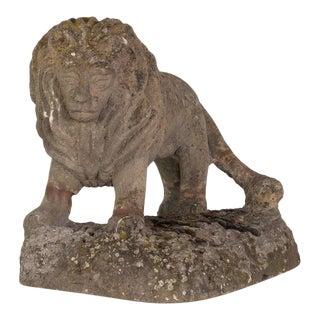 Carved Sandstone Lion Statue For Sale