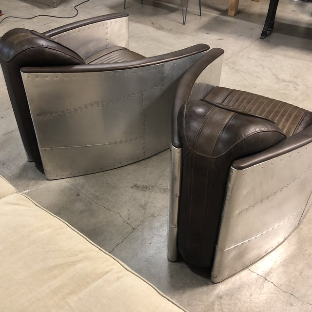 Pair of Restoration Hardware Aviator Chairs For Sale In San Francisco - Image 6 of 13