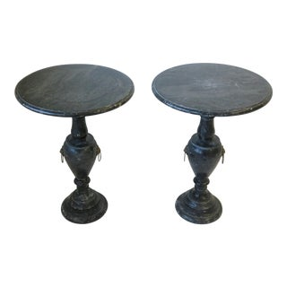 Italian Neoclassical Style Black & White Marble Side Tables - A Pair For Sale