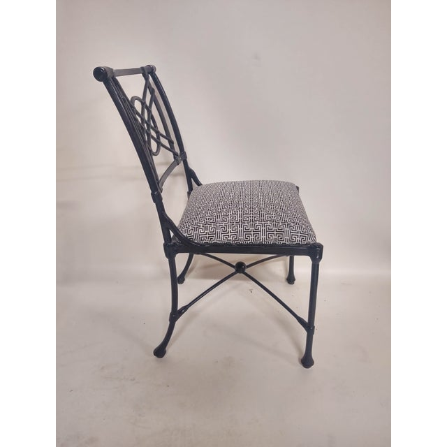 Black 1960s Vintage Black Patio Chairs in Decorator Fabric - Set of 6 For Sale - Image 8 of 10