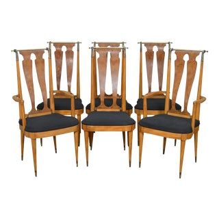 Mid Century High Back Burl Wood & Brass Dining Chairs - Set of 6 For Sale