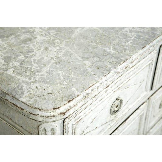 Mid 18th Century French Louis XVI Period Painted Faux Marble Top Commode Chest of Drawers For Sale - Image 5 of 10