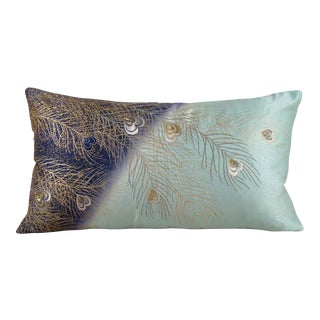 Hand Painted and Embroidered Peacock Feather Japanese Silk Kimono Pillow Cover For Sale