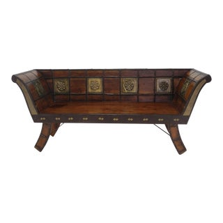 Handmade Teak Settee/ Bench/Loveseat With Brass Inlay Made in India For Sale