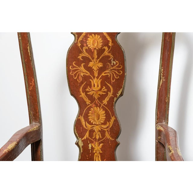 Set of ten red Venetian style dining chairs. Two arm and eight side chairs