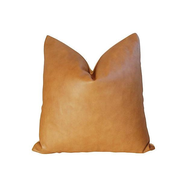 "Contemporary 20"" Custom Tailored Italian Brown Leather & Velvet Feather/Down Pillow For Sale - Image 3 of 4"