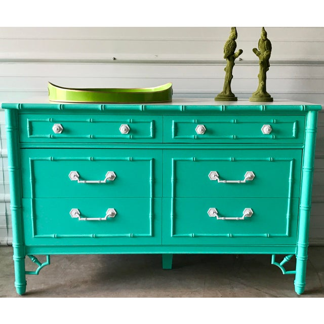 Thomasville Vintage Custom Colored Turquoise Bamboo Dressers - a Pair For Sale - Image 4 of 6