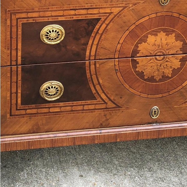Gold Antique Italian Marquetry Commode For Sale - Image 8 of 13