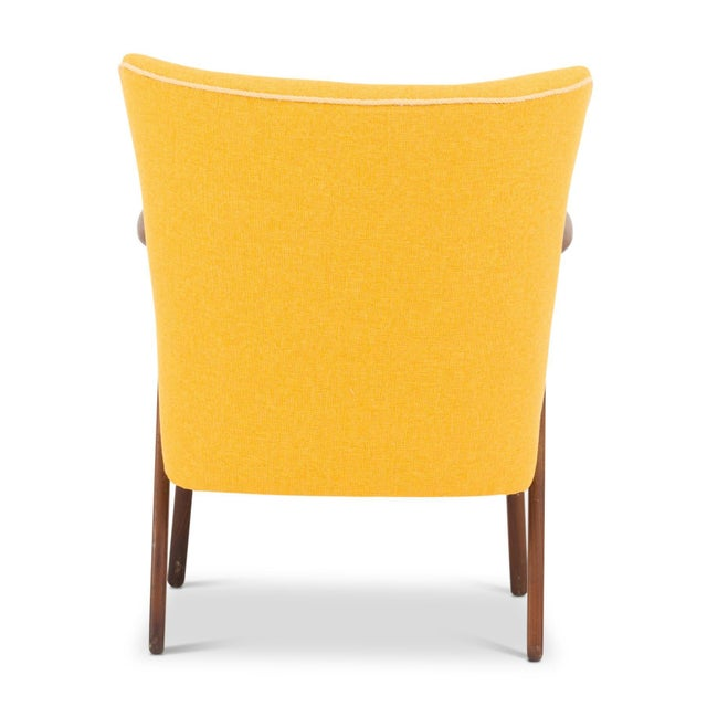 Kurt Olsen Cocktail Chair Re-Upholstered in Yellow Fabric in the Style of Kurt Olsen, 1950s For Sale - Image 4 of 7