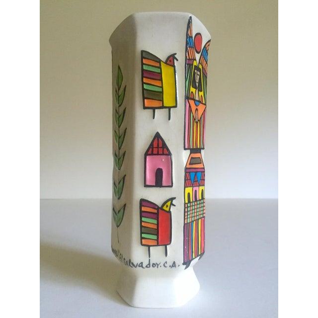 Various Artists Vintage Mid Century Modern El Salavdor Rare Art Pottery Hand Painted Signed Angel Vase For Sale - Image 4 of 13