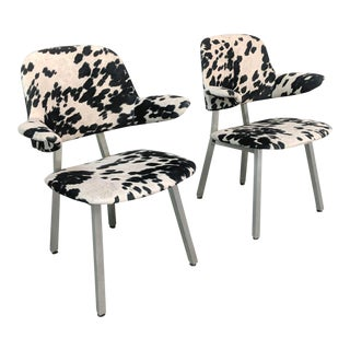 Mid Century Modern Cowhide Aluminum Frame Chairs - A Pair For Sale