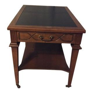 Vintage Mid-Century Mersman Wood Black Formica Top End Table Pair