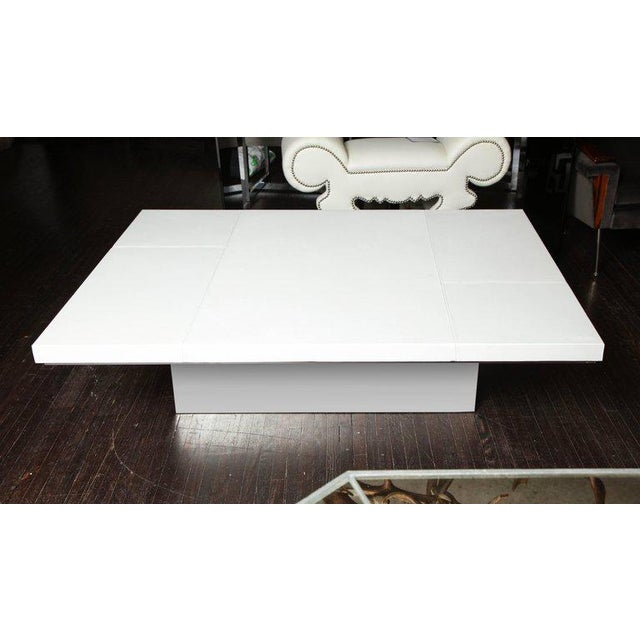Metal Custom White Leather Cocktail Table For Sale - Image 7 of 7