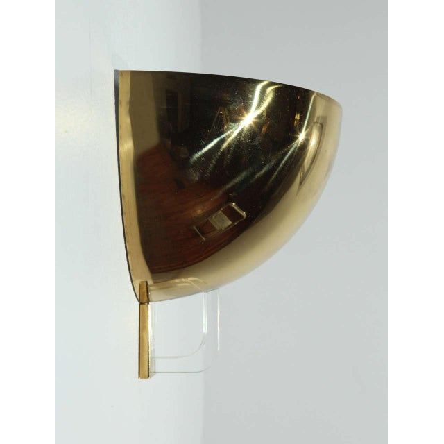 Italian 1970s Brass & Lucite Italian Sconces - a Pair For Sale - Image 3 of 9