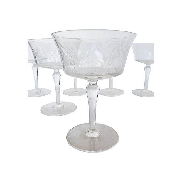 Etched Floral Pattern Crystal Coupe - Set of 6 - Image 2 of 7