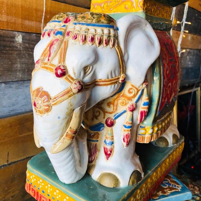 Ceramic Ceramic Palm Beach Hollywood Regency Elephant - Set of 3 For Sale - Image 7 of 11