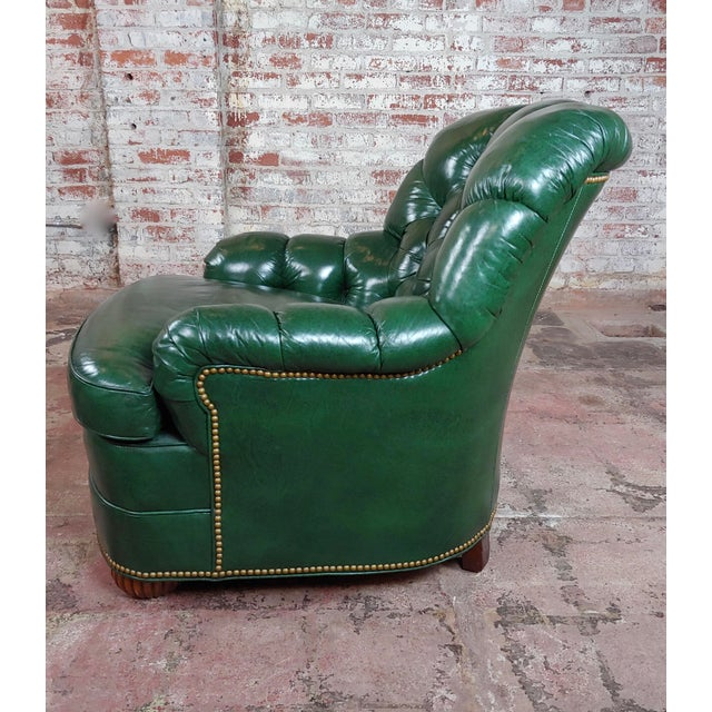 Hancock & Moore Tufted Green Leather Club Chair with Ottoman For Sale - Image 4 of 11