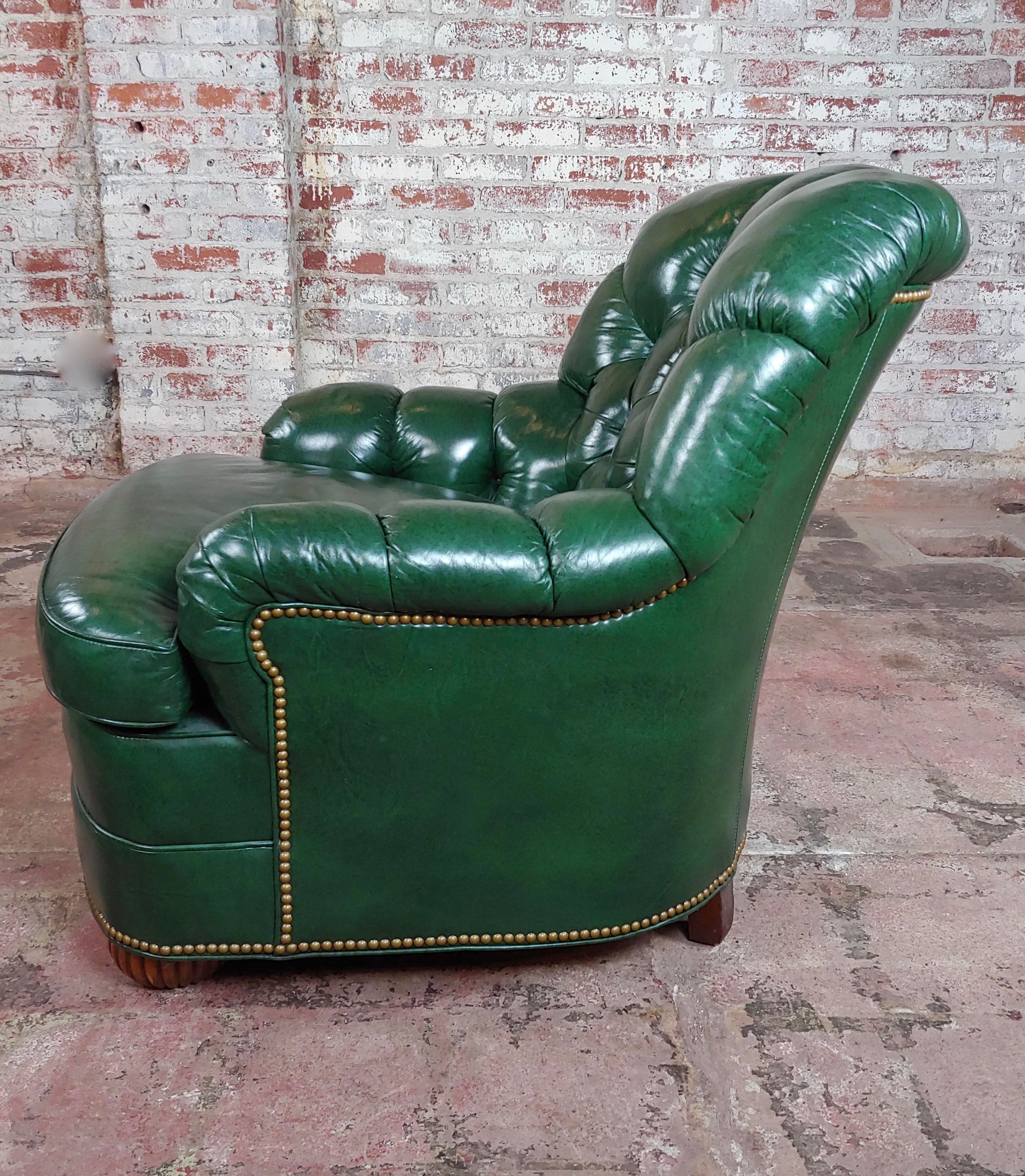 Hancock U0026 Moore Tufted Green Leather Club Chair W/Ottoman For Sale   Image 4