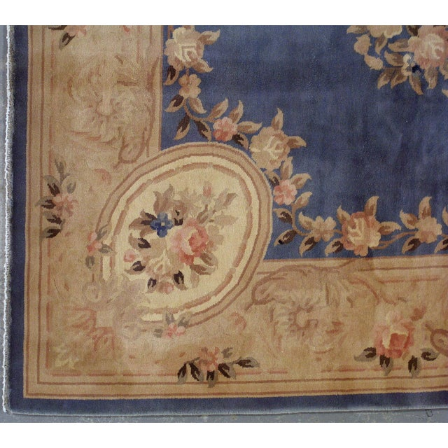 1930s Antique Chinese Art Deco Hand Made Rug- 9′ × 11′7″ - Image 8 of 8