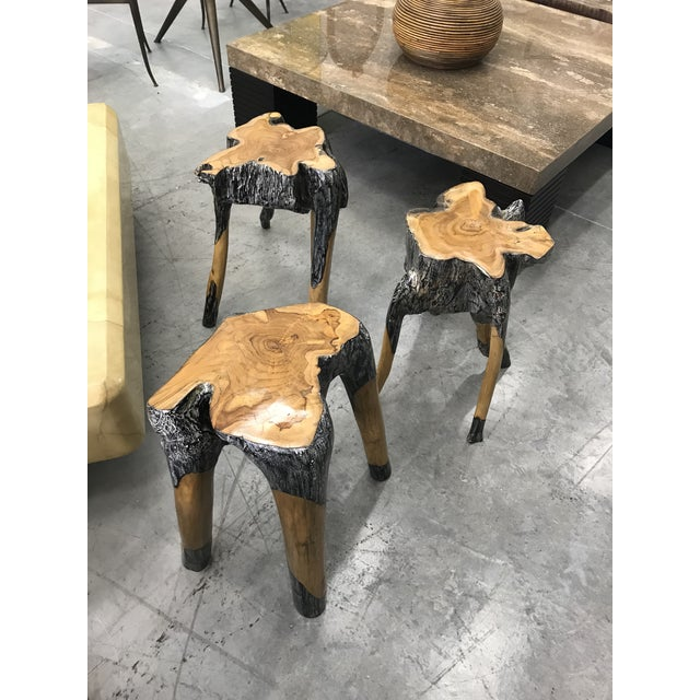 Mid-Century Modern Live Edge Wood Stools - Set of 3 For Sale - Image 3 of 7