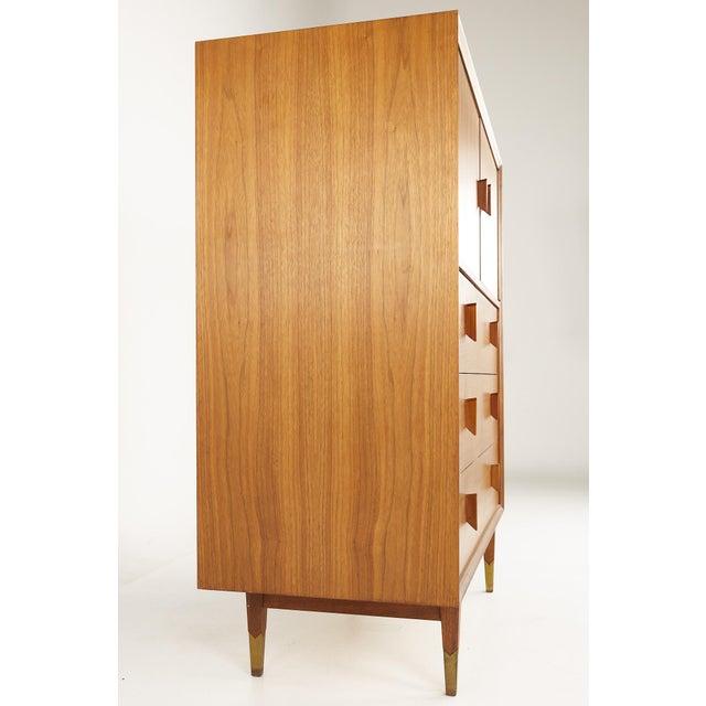 Albert Parvin Style Mid Century Walnut Highboy Dresser For Sale - Image 4 of 12