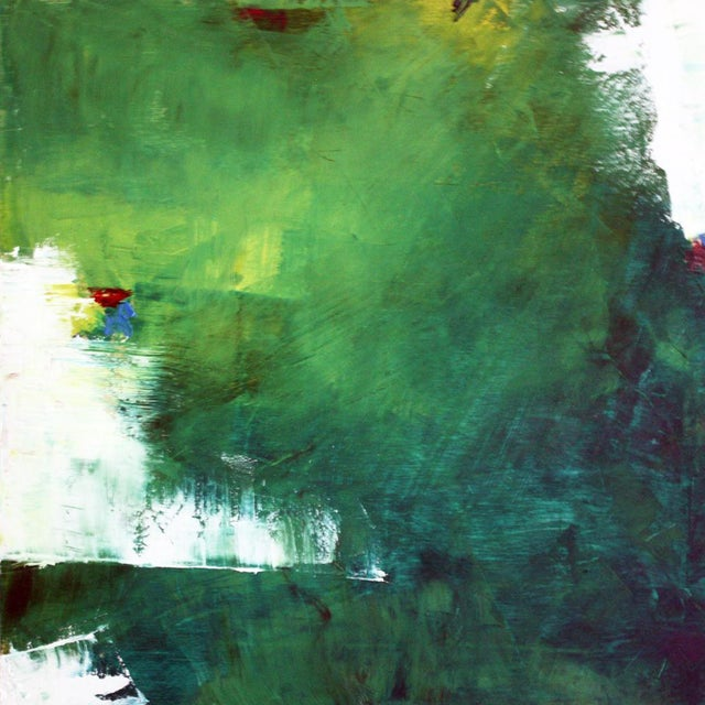 """July"" Green & White Abstract Oil Painting by Paul Ashby For Sale"