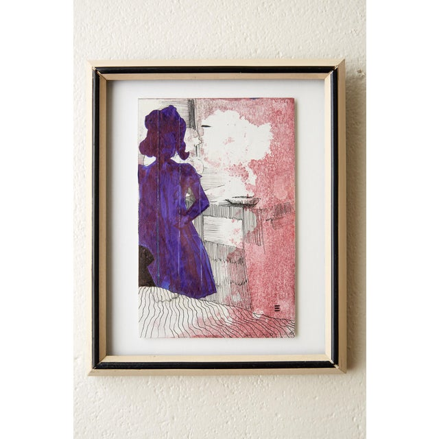 2010s Framed Silloutte of a Girl in Watercolor and Ink For Sale - Image 5 of 5