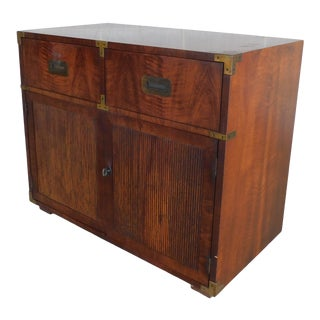 "Henredon Campaign Style 2 Drawer 2 Door Chest 30""h X 36""w For Sale"