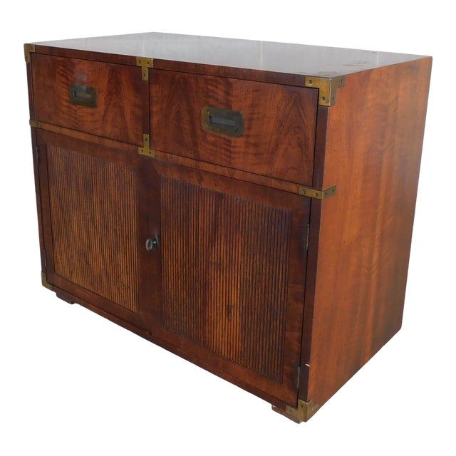 """Henredon Campaign Style 2 Drawer 2 Door Chest 30""""h X 36""""w For Sale"""