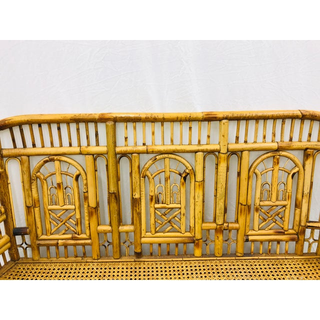 Vintage Chinese Chippendale Bamboo & Cane Settee For Sale In Raleigh - Image 6 of 13