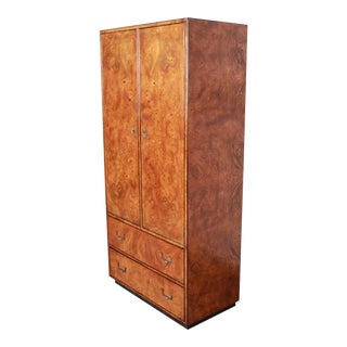 John Widdicomb Mid-Century Modern Hollywood Regency Campaign Burl Wood Armoire Dresser For Sale