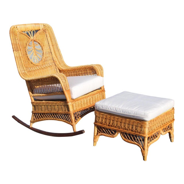 Ralph Lauren Rocking Chair & Foot Stool For Sale - Image 13 of 13