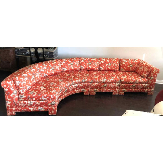 Hickory Furniture Vintage Chinoiserie Curved Sectional by Hickory Furniture For Sale - Image 4 of 13