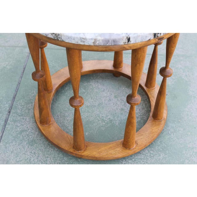 1960s 1960s Midcentury Spindle Table With Marble Top For Sale - Image 5 of 8