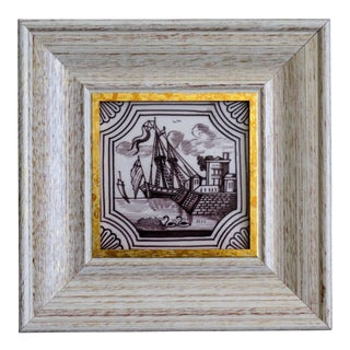 19th Century Dutch Delft Framed Tile For Sale