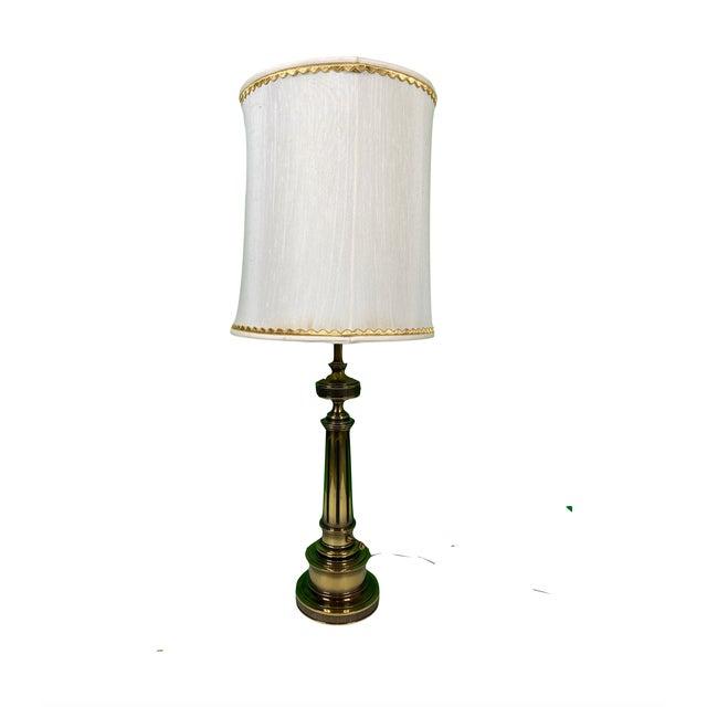 Vintage 1960s Mid Century Modern Stiffel Solid Brass Column Turn Knob Lamp For Sale - Image 9 of 9