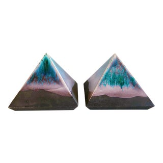 1980s Hollywood Regency Tony Evans Raku Pottery Pyramid Sculptures - a Pair