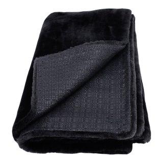 Dark Navy Sheepskin Throw Blanket by Tasha Tarno For Sale