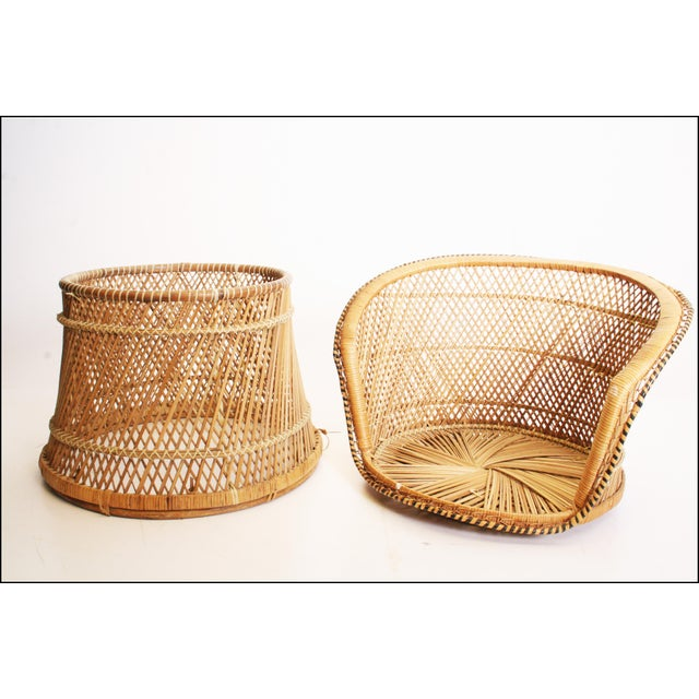 Vintage Boho Chic Wicker Barrel Chair For Sale - Image 11 of 11
