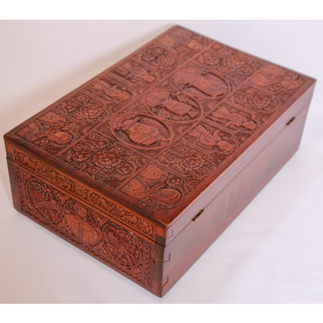 Large Early 19th Century Antique Hand Carved Wooden Decorative Box For Sale - Image 9 of 13