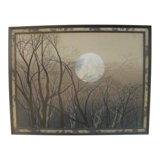 1980s Fall Full Moon Painting, Framed For Sale