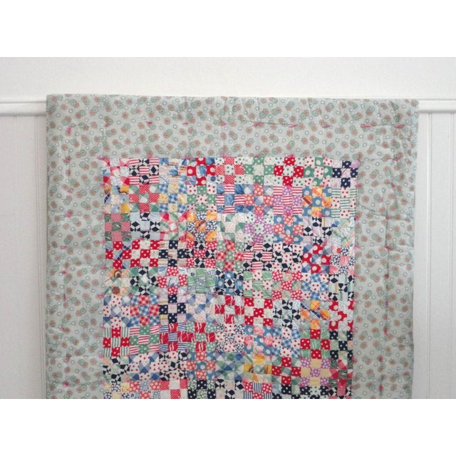 Fantastic Mounted Postage Stamp Crib Quilt from Pennsylvania For Sale - Image 4 of 7