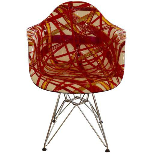 """Red Mauro Oliveira Decorated Chair """"Summer"""" For Sale - Image 8 of 8"""