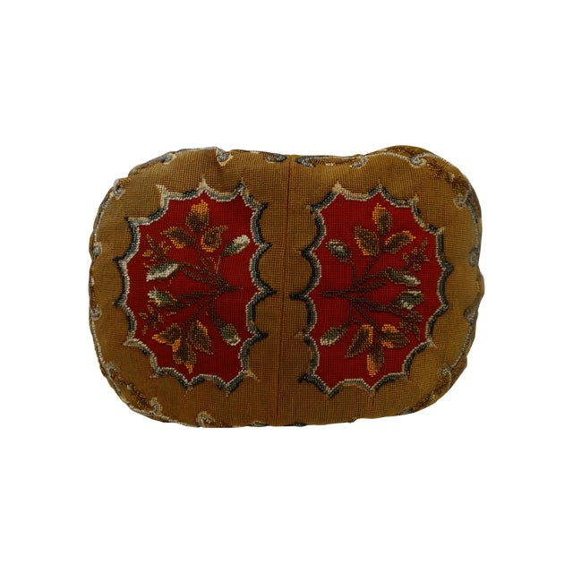 Antique Beaded Needlepoint Pillow - Image 1 of 3