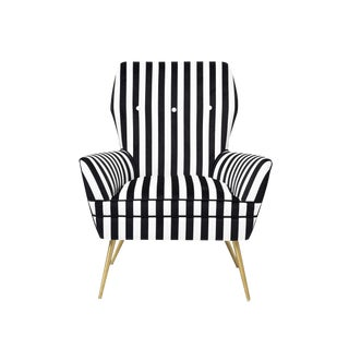 Pasargad Home Zomex Modern Gold Leg Accent Chair For Sale