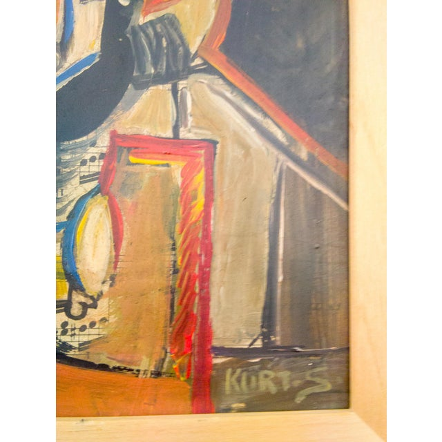 This portrait of a a figure in motion is a done in a cubist form and entails bold hues and color with bold straight lines.