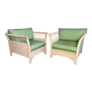 Pair of Wicker Tuxedo Chairs by Henry Link for Lexington For Sale