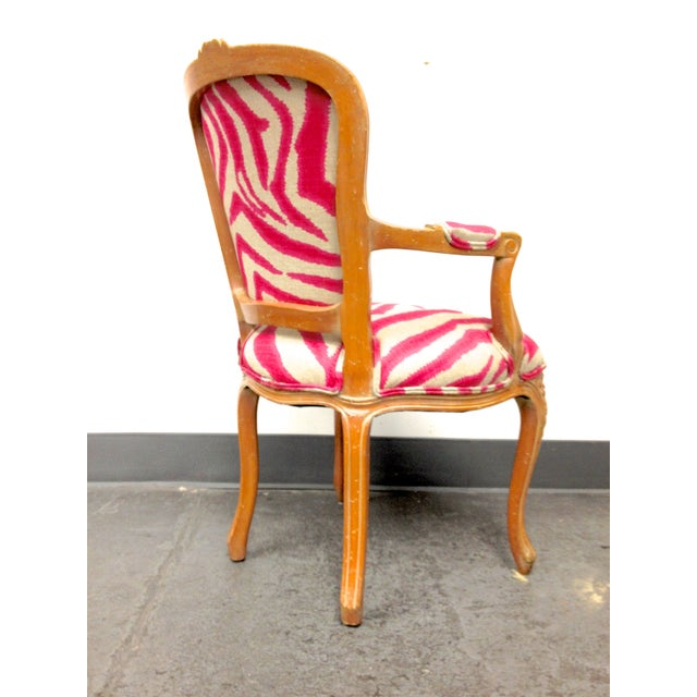 Pink Zebra Print Louis Chair For Sale - Image 4 of 8