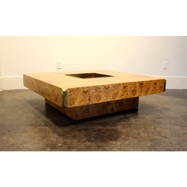 Studio Willy Rizzo 1970's Italian Willy Rizzo Burl Wood and Brass Coffee Table. For Sale - Image 4 of 8