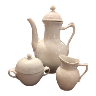 White Royal Copenhagen Coffee, Creamer and Sugar Set - 3 Pieces For Sale